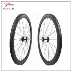 Cheap Chinese track carbon wheels 50mm x 20.5mm clincher carbon fiber wheel fixed gear single speed for track cycling