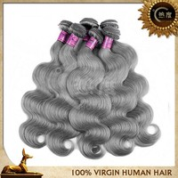 Factory price gray remy hair extensions gray human hair gray hair weave