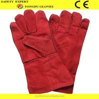 """14"""" long red cow split leather safety glove/cow split leather welding glove/leather working glove with CE EN388 4321"""