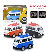 Light with Music 1:36 Pull Back Mini Bus Toys Metal Car Model 3 Colors Mixed BT-014966
