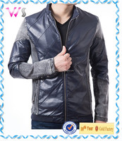 Wholesale checkout Slim Fit Casual Suit Blazers cheap faux leather stand collar jacket varsity jacket with leather sleeves