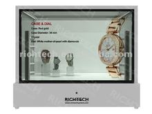 22'' transparent display lcd presents product with dynamic pictures and videos