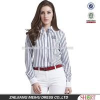 new design women's vertical stripe long sleeve slim fit contrast color designer's dress shirt