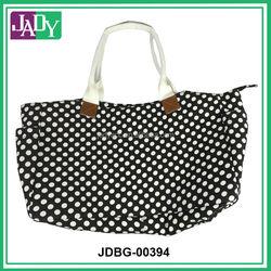 Black and White Dot Canvas Tote Bag Fashion Lady's stylish Bag