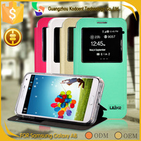 New product dot view PU leather flip cover case for samsung galaxy a8