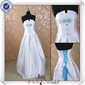 satén jj0099 ningún tren de luz azul y blanco vestido de novia
