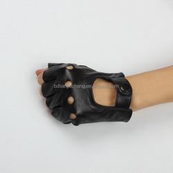 black unlined short fashion half finger leather driver gloves gloves motorcycle