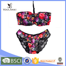 High Quality Breathable Flower Print England Hot Sexy Girl Photo Lingerie