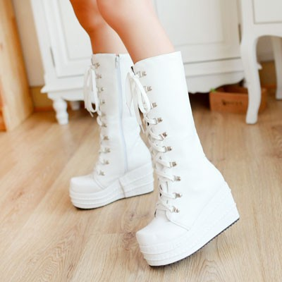 ENMAYER New 2015 Gothic Punk Shoes Cosplay Boots Knee High Heel