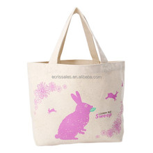 canvas pink rabbit printing lunch shopping bag