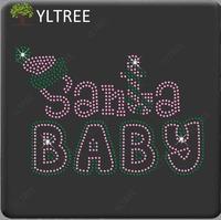 Santa Baby Rhinestone Motif Crystal Glass Heat Transfer on Cloth As Garment Accessory