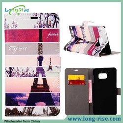 New Arrival Stylish Eiffel Tower Pattern Leather Wallet Flip Case for Samsung Galaxy Note 5 Edge