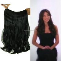 Jet Black Long Curly Wave Flip in Hair Extension in Synthetic Heat Resistant Fiber 100g Halo Hair in Hair Extension for Woman