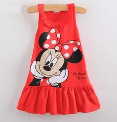 HJL-K1035New2015 Baby Girl Summer Dress Girls mouse Pink Red Dress Girl's Casual Party Dress cottons ummer dress for Girl