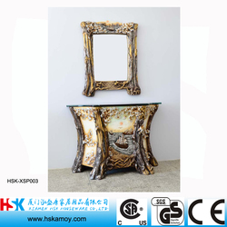Polyresin Bathroom Sink with Mirror, Glass Bath Basin, Antique Bathroom Vanity with Exquisite Scultpure