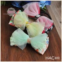 Tie Dye Print Elastic Hair Bow Band 6 Color Organza