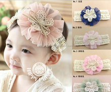 JPHAIR150406 2015 hot sale fashion latest big flower bow chiffon princess broadside Baby Girl elastic Headbands