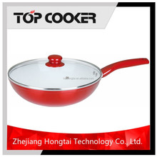 Forged red color aluminum ceramic coating metallic wok