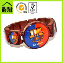 custom design football team chinese wood bead stretch bracelets