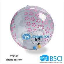 PVC inflatable beach ball with animal toy inside (BSCI audit factory)