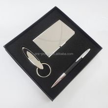 Premium name card case keychain pen metal business gift set
