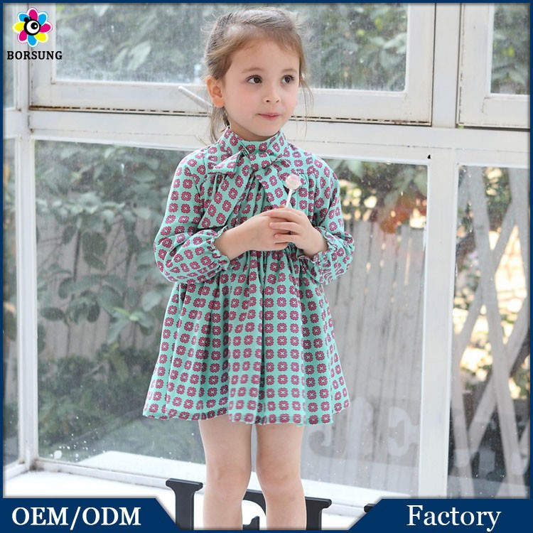 China Import Clothes Floral Pringting Mini Skirt 3/4 Sleeve Slim 2 Year Old Girl Dress