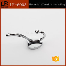 Cheap Zinc Alloy Double Metal hanger Coat wall Hooks