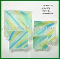 Dinnerware colorful square Glass Plate