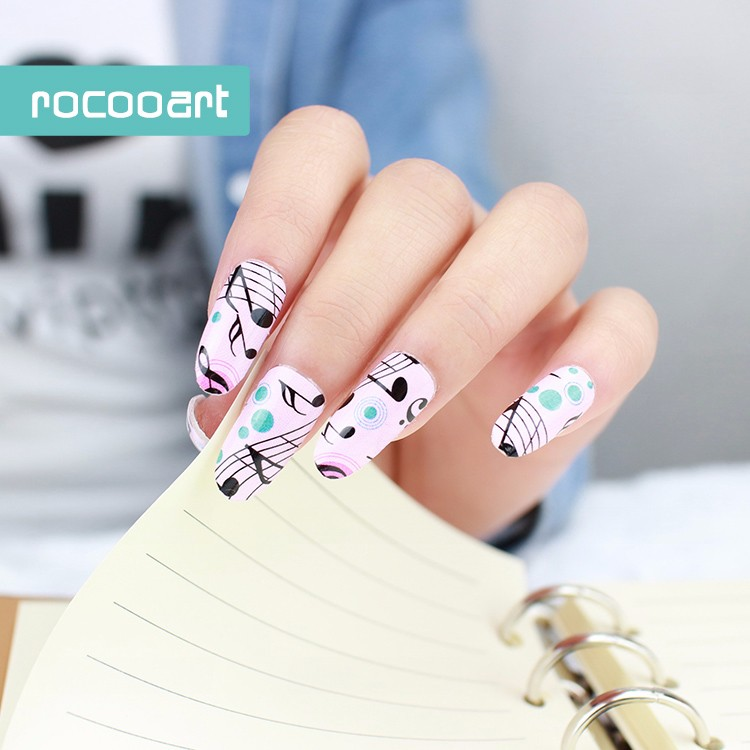 Y5204/cute Pink Music Design Nail Wraps Decals Fashion Melody Nail ...