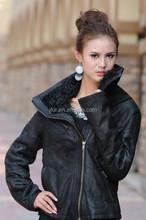 Motorcycle Stylish Women Genuine Sheepskin Leather Jacket Coat With Mongolian Lamb Fur Collar