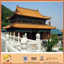 Yellow color clay tiles decorative temple roofing