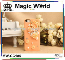 2014 england fashion crystal flowers mobile phone case for iphone 5c