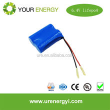 large energy density LiFePO4 6.4V 3Ah 26650 battery pack with connector for solar street lights with deep circle