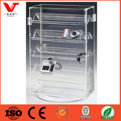 Rotating Acrylic Small Display Case with 5 Double-Sided Shelves