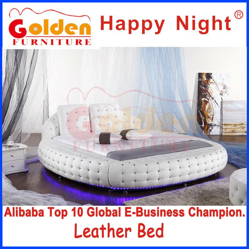 6821 Golden king size mobili letto rotondo con luce a led