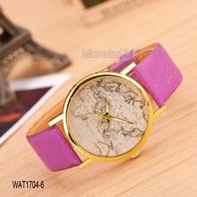 2015 mode pas cher mix couleur carte du monde femmes quartz montre