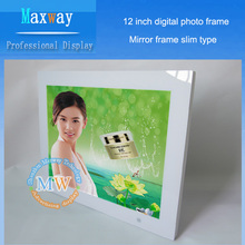 new design 12 inch digital photo frame horizontal and vertical display desktop or wall mount HD display and WiFi optional