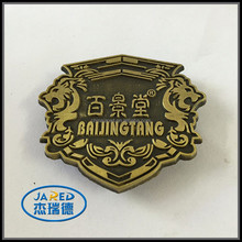 magnetic button brass die cast metal badge emblem lapel pin