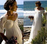 Modern Simple Column Beach Wedding Dress With Short Sleeves Sweep Train Chiffon Maternity Bridal Gowns