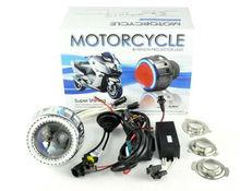 2013 Xenon Motorbike HID Motorcycle Headlight Bixenon Projector Lens with halo angel eye, moto hid light