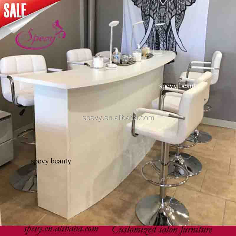 Triple Seats Salon White Bar Chairs / Manicure Nail Bar Tables   Buy ...