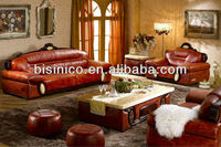 Southeast Asian Image Living Room Sofa Set, Genuine Leather Sofa, Luxuriou Living Room Furniture Set