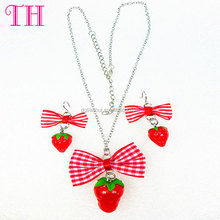 factory low price strawberry shape fabric material bow non-toxic metal necklace resin earring wholesale jewelry set