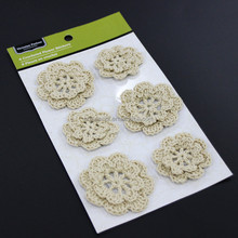 Multifunctional Decorative Handcraft Crocheted 3D Flower Embellishment for Book,for Clothing
