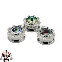eye logo screw stainless steel ear expander piercing body jewelry stretchers ear tunnel