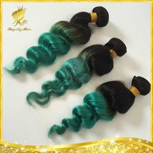 Wholesale top quality grade 8A Malaysian hair #1b/green loose wave Factory price 3pcs/lot ombre color human hair weft