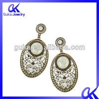 fashion drop earring jewelry,2012 popular earrings with pottery and porcelain & rhinestone ,alloy earrings wholesale lot