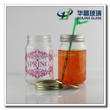 Round 480ml empty glass mason jars with decal logo printing for storage candy jam wholesale