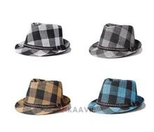 classic mens tartan big plaid strap fedora hat