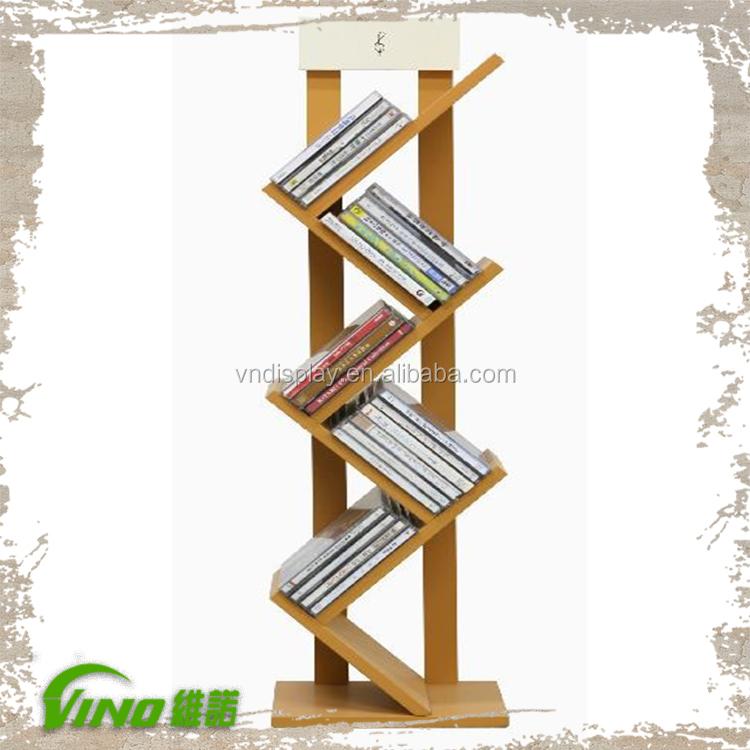 New Design Book Display Racks Nature Wooden Book Stand With Four Unique Wooden Book Display Stand